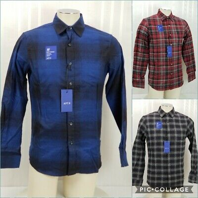 - APT 9 Mens Soft Touch Plaid Long Sleeve Button Flannel Shirt New