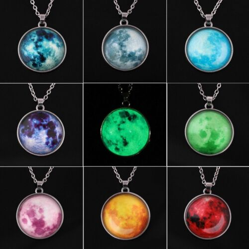 Dark Night Glowing Rising Moon Pendant Luminous Necklace Long Chain Fluorescent