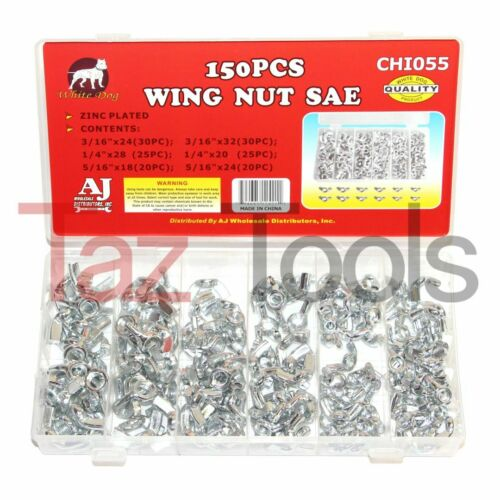 150 pcs Wing Nut Assortment Set Zinc-Plated Steel Wingnuts 6 Standard Sizes NEW
