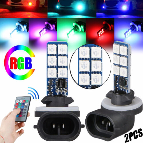 2PCS Fog Lights 881 5050 Colorful LED RGB Car Headlight Lamp Bulb Accessories US Car & Truck Parts