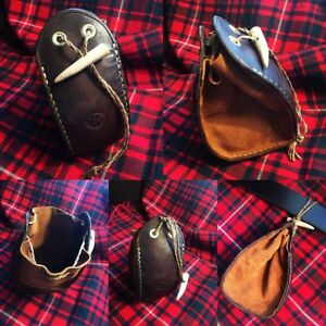 Leather pouch with antler toggle