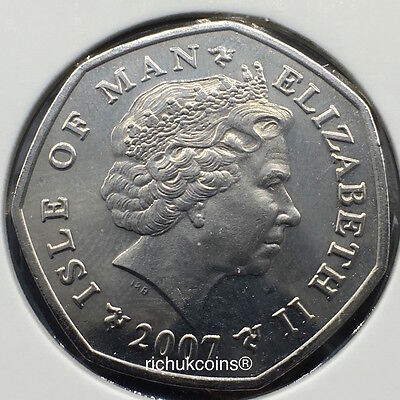 2007 IOM T.T. the Trophy Currency 50p Coin with AA die letters