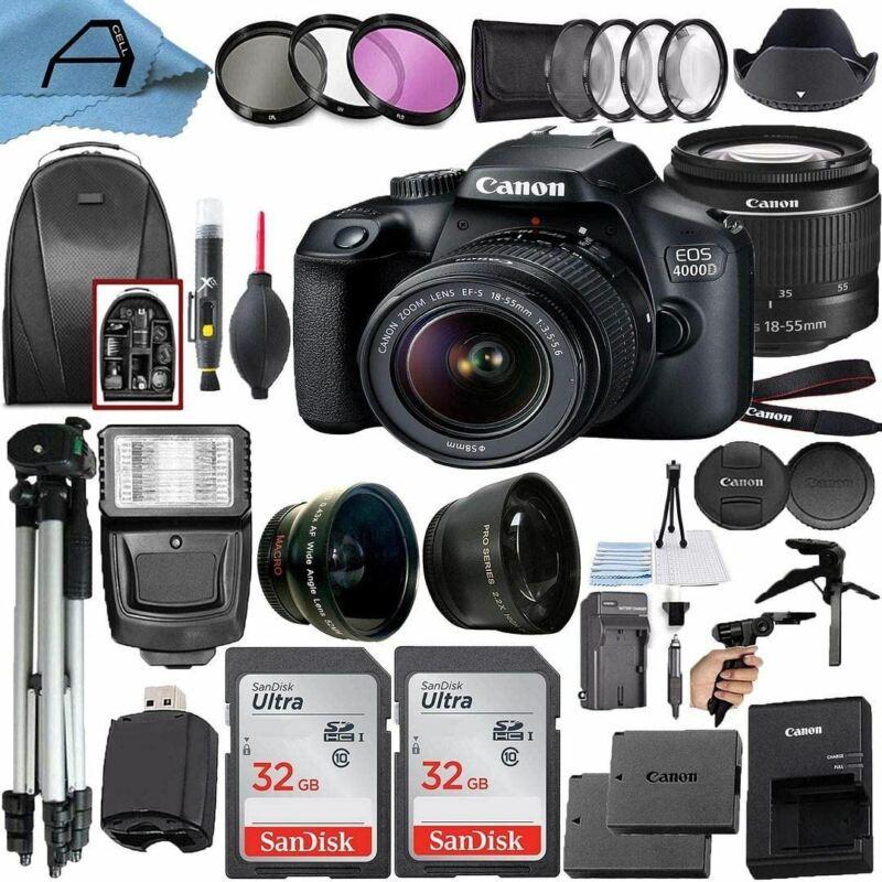 Canon EOS 4000D / Rebel T100 DSLR Camera 18MP Sensor, EF-S 18-55mm Lens, 2 Pack
