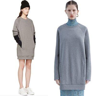 ACNE STUDIOS Fiera Sweatshirt Dress in soft fleece in grey new $300 xxs