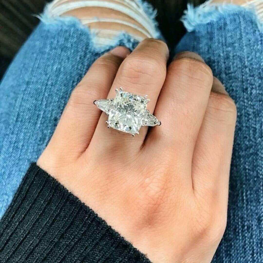 1.80 ct. 3-Stone Cushion w/ Baguette Diamond Engagement Ring E, VS2 14k WG GIA