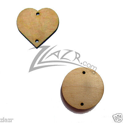 """200 2""""x1/8"""" COMBO Wooden Hearts & Circles Birthday Board Craft 2-hole wood disc"""