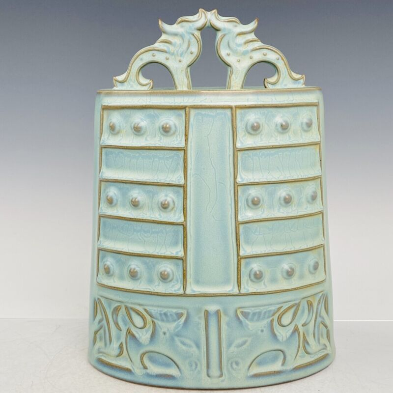 """12.4"""" China  Song dynasty  Jun porcelain  Azure glaze  Tracing gold  chimes"""