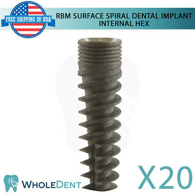 20x Dental Implant Spiral Internal Hex System Titanium Sterile Rbm Surface