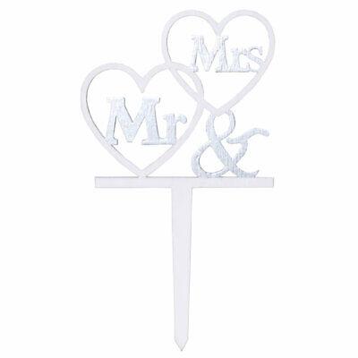 Tortenstecker Tortenfigur Cake Topper Hochzeit Trauung Wedding Mr & Mrs - Holz