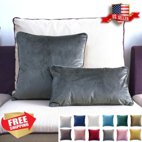 decorative pillows - 20x20 14x20 Velvet Piping Sham Throw Decor Cushion Pillow Cover