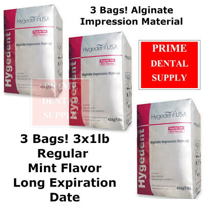3 Bags Hygedent Alginate Dental Impression Material Regular Mint 1lb Dust Free