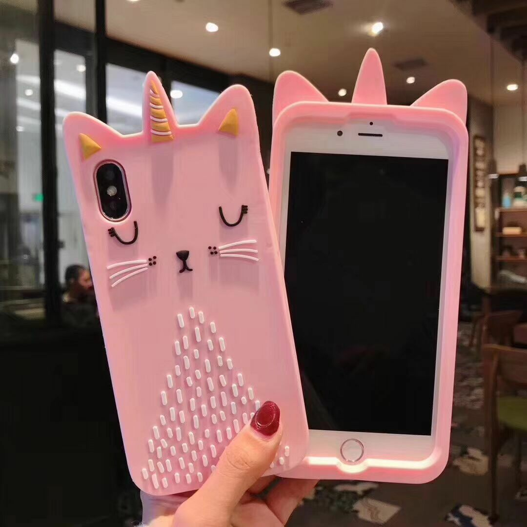 3D Soft Silicone Unicorn Cat Phone Case For iPhone X SE 5 ... Iphone 5 6 7 8 9