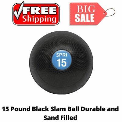 Slam Ball Rubber Sand 15Pound Black Fitness Heavy Duty No Bounce Ball SPRI New