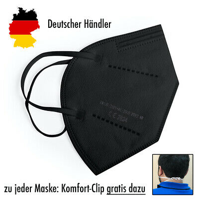 5xHochwertige FFP2 Maske Mundschutz 5-lagig SCHWARZ✅ mit Ohren-Komfort-Clip
