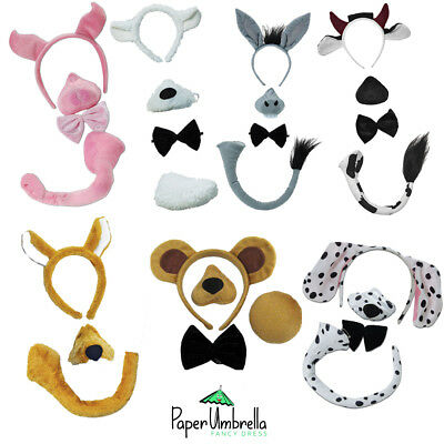 Animal Headbands + Sound Fancy Dress costume Donkey Sheep Cow Pig Dog Bear Fox
