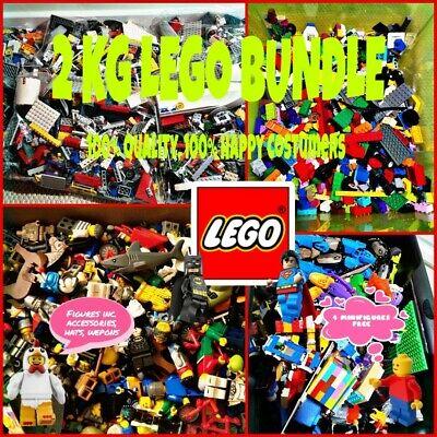 LEGO BUNDLE ASSORTED 2 KG GENUINE 2000G MIXED BRICKS 4 MINIFIGURES  LOT SET BULK