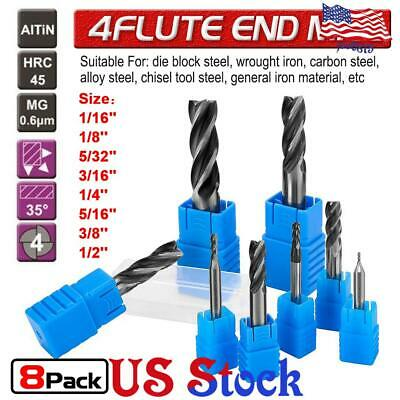 "BEST CAR 4 FLUTE UNIV APPL 7//32/"" DBLE END BALL NOSE STUB COAT TiALN END MILL/""NEW"