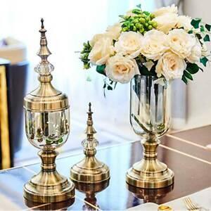 SOGA 2x Clear Glass Flower Vase with Lid and Flower Filler Vase Set