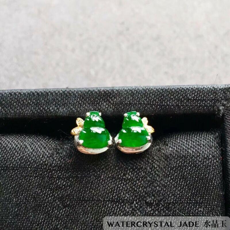 NEW Beauty Myanmar Grade A Jadeite Yang Green Gourd Jade Earring 18K White Gold
