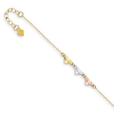 14k Tri Color Yellow White Gold Adjustable Chain Plus Size Extender Heart