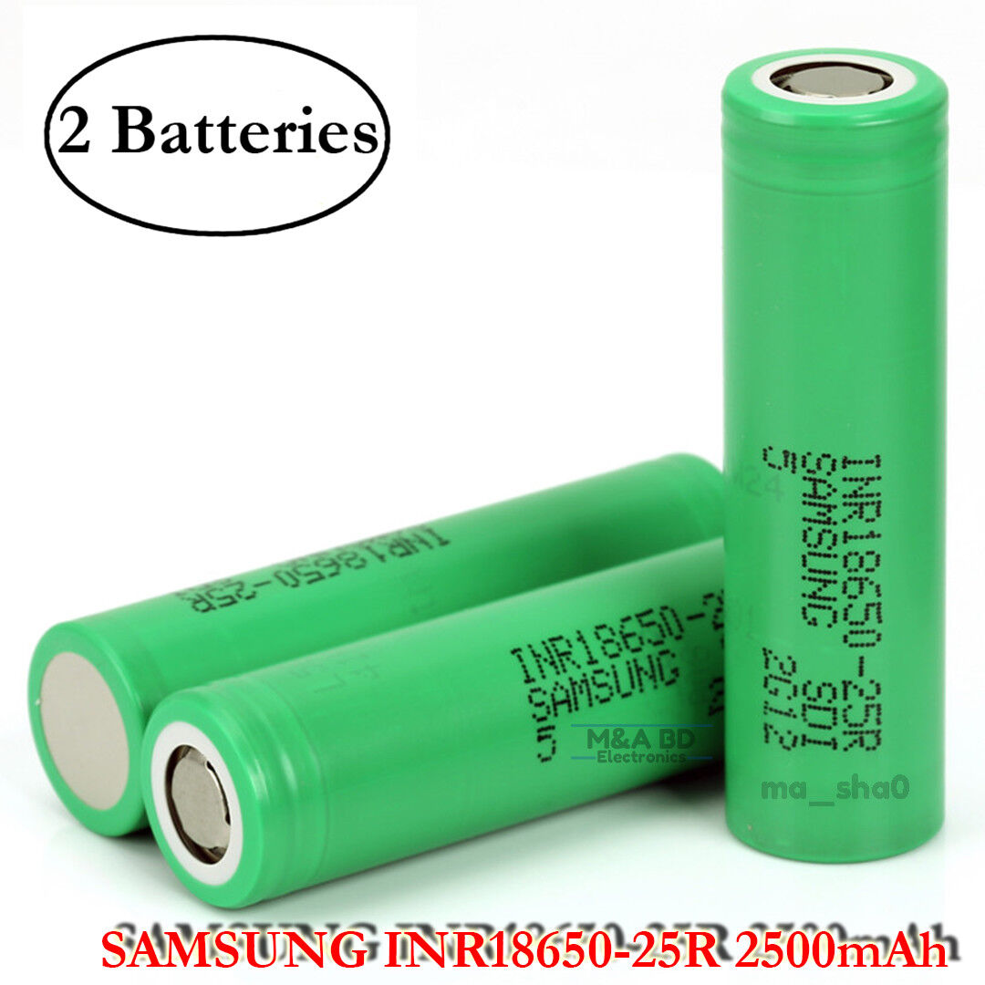 2x Samsung INR 18650 25R 20A 2500mAh Rechargeable Flat Top