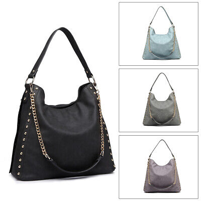 Women PU Leather Handbag Ladies Studded Large Hobo Shoulder Bag