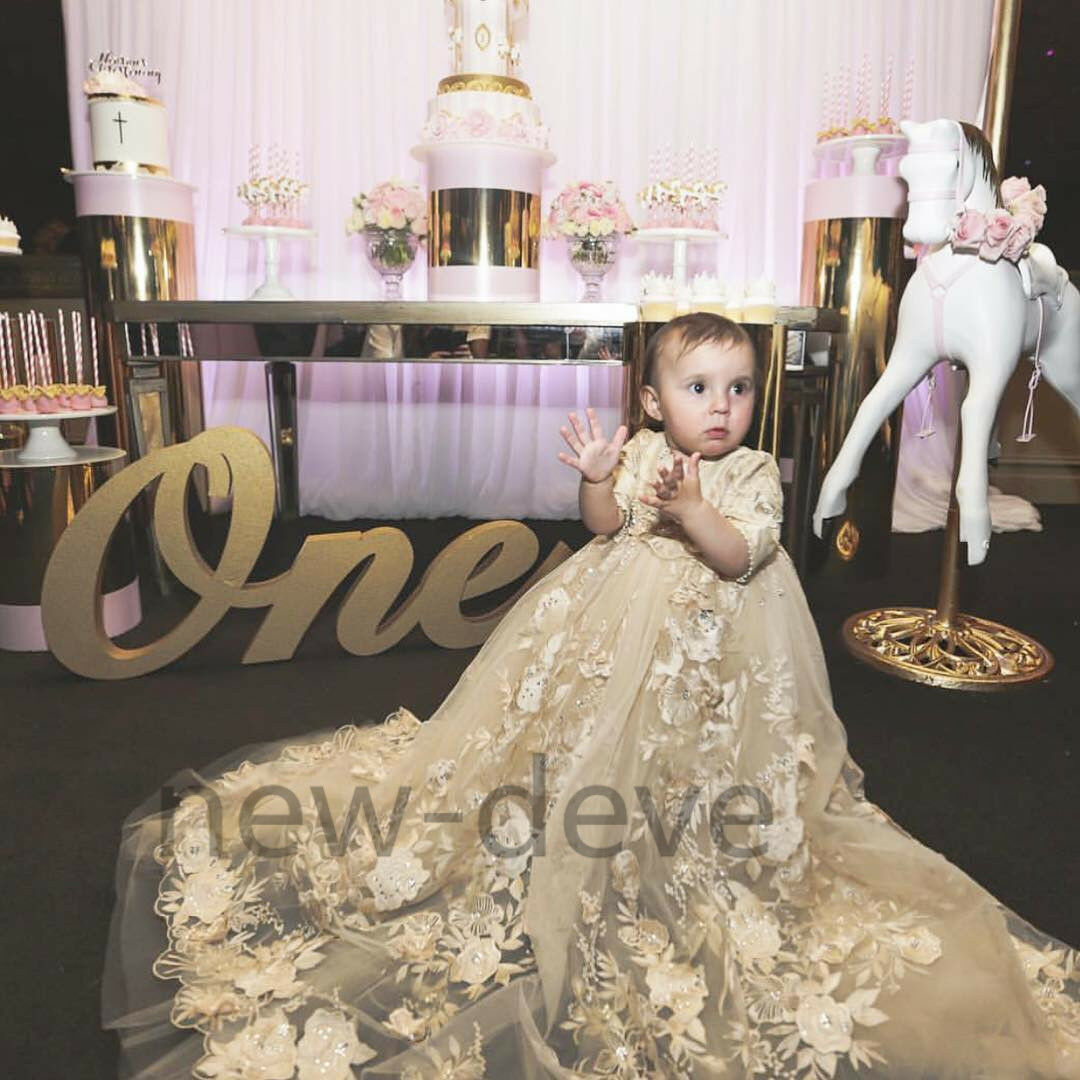Christening Gowns Lace Flower Sequins Pearls Infant Long Baptism Dresses Custom