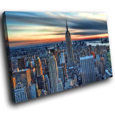 SC149 Colourful New York City Landscape Canvas Wall Art Large Picture Prints