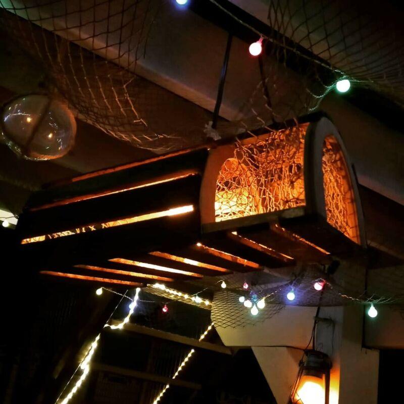 Tiki Bar Light Smart LED Bulb Redwood Aged Lobster Trap Man Cave Light Nautical