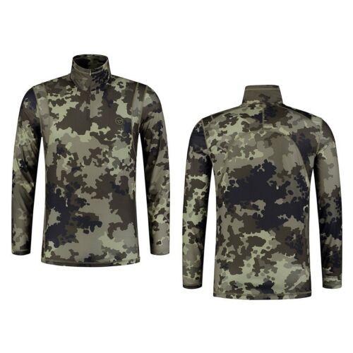 Korda Kool Quick Dry LS Zip Neck Kamo Carp Fishing Clothing