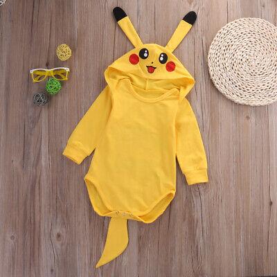 Baby Pikachu Halloween Costumes (Newborn Baby Girl Boy Pokemon Pikachu Romper Jumpsuit Halloween Cosplay)
