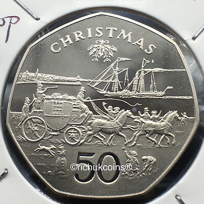 1980 IOM Xmas 50p Diamond Finish Coin with BC die marks