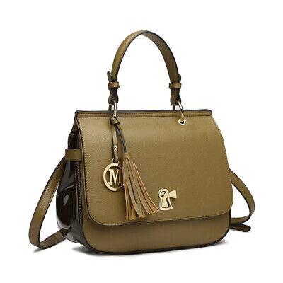 Ladies Designer Tote Handbag PU Leather Gold Metal Tassel Messenger Satchel Bag