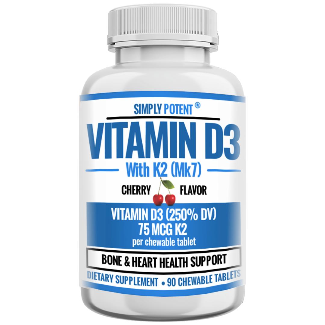 Vitamin D3 K2 (MK7) 90 Chewable Cherry Flavor Supplement for Bone & Heart Health 9