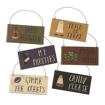 Country Primitive Wooden Halloween Nite Signs Ornies Set of - Wooden Halloween Signs