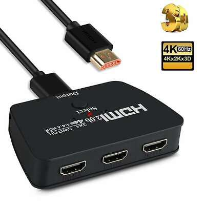 4K 60Hz 3 in 1 Out HDMI Switch with High Speed Switch Splitter Pigtail Cable