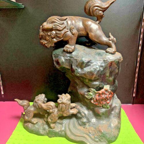 Japanese Antique Statues Lion parent child Okimono figurine Meiji Old Japan Art