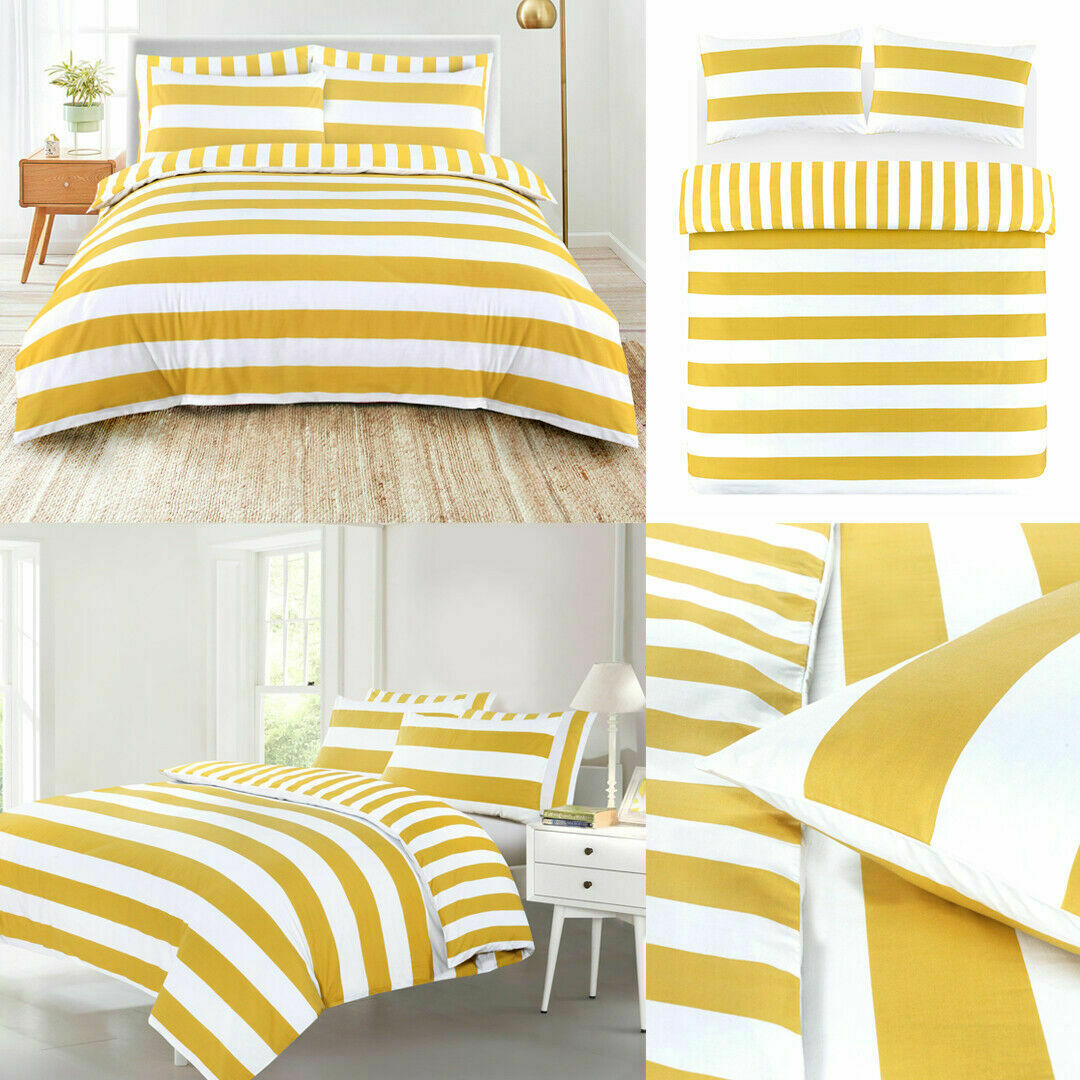 Bold Bright Striped Duvet Cover Mustard White Quilt Linen Bedding Set All Sizes Ebay