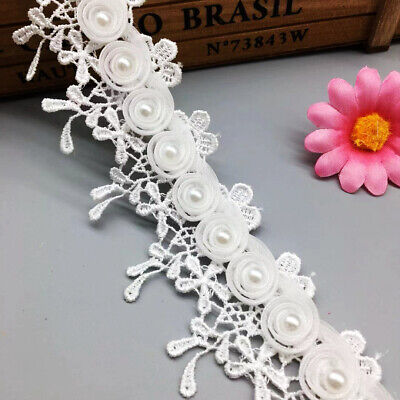 1yd Chiffon Beads Pearl Lace Trim Tassel Wedding Ribbon Embroidered Sewing Craft Pearl Trim