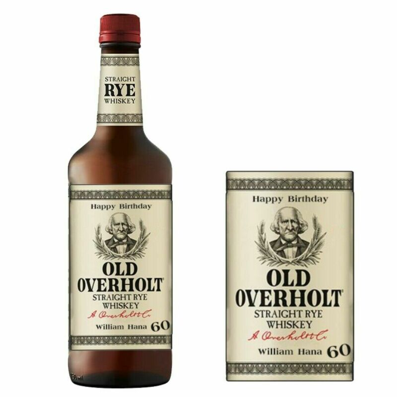 Personalised Old Overholt Whisky Bottle label for Birthday Xmas any occasion