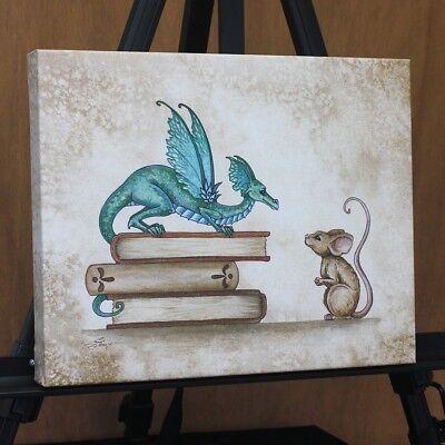 "Amy Brown ""A Curious Encounter"" Dragon Canvas Art - 15"" x 12""- by TouCanvas"