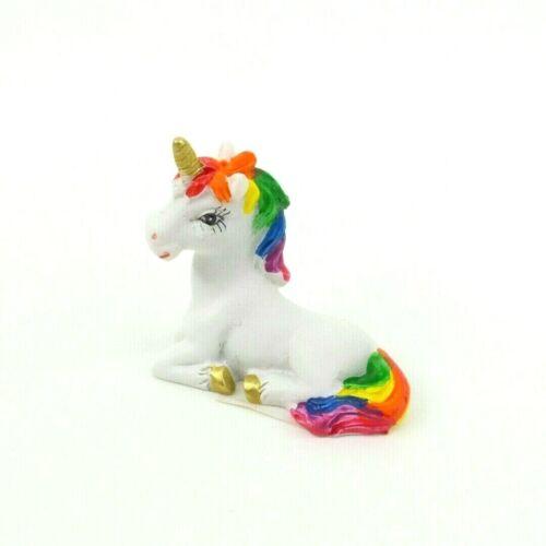 "Mini Unicorn Figurine Rainbow Mane & Tail Mythical Fantasy Statue 1.5"" Tall 4"