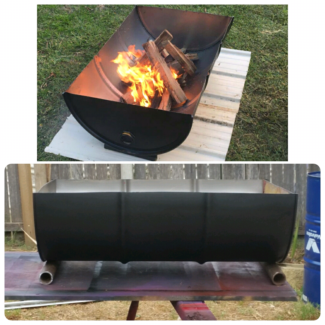 Firepits made from 44 gallon drums