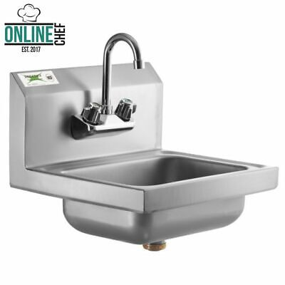 Hand Wash Sink W Faucet Commercial Stainless Steel Wall Mount Kit Nsf 17 X 15