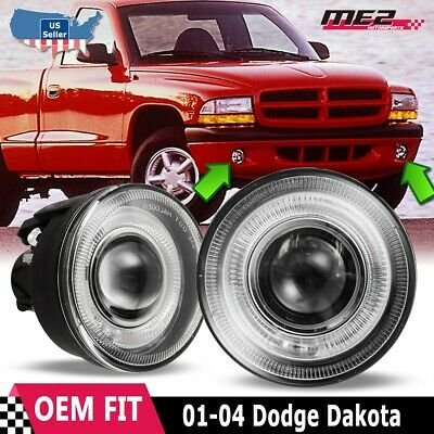 For Dodge Dakota 01-04 Factory Replacement Halo Projector Fog Lights Clear Lens