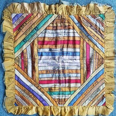 OUTSTANDING, Colorful 1910's Cigar Silk Ribbon Premium Antique Pillow Sham!
