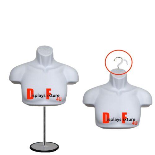 Mannequin Half Form Upper Torso Male + Stand + Hanger *For T-Shirt Display*White