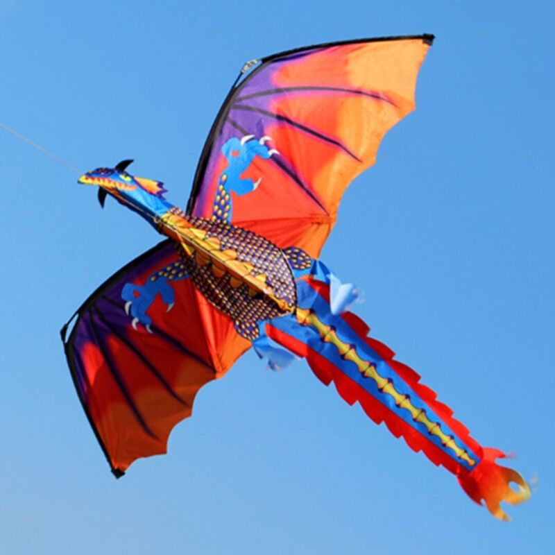 Classical Large 3D Dragon Kite Single Line w/ Tail Outdoor S