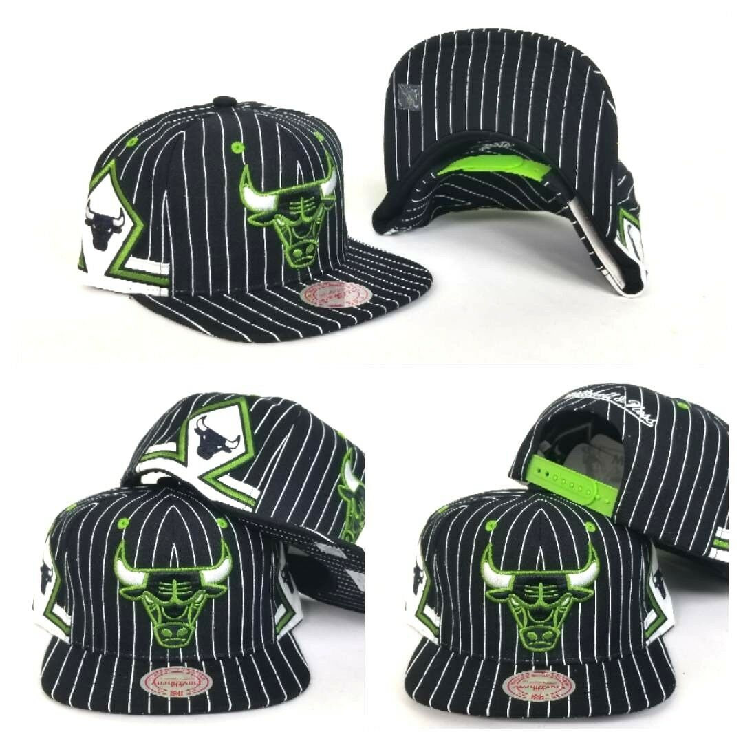 3ca67ed42 Details about Mitchell & Ness NBA Chicago Bulls Black / Lime Green  pinstripe snapback Hat Cap