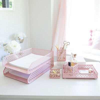 Blu Monaco Pink 6 Piece Cute Desk Organizer Set - Cute Office Desk Accessories